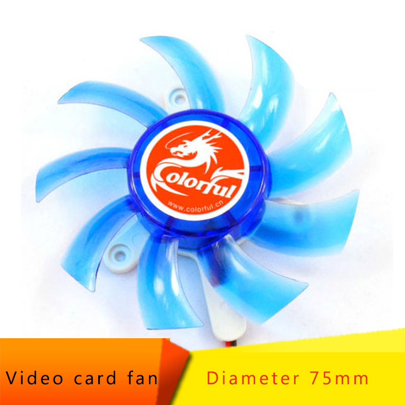 2 Pin 75mm 7.5cm Blue 3 Hole VGA Video Graphics Card Cooling Fan For PC Desktop