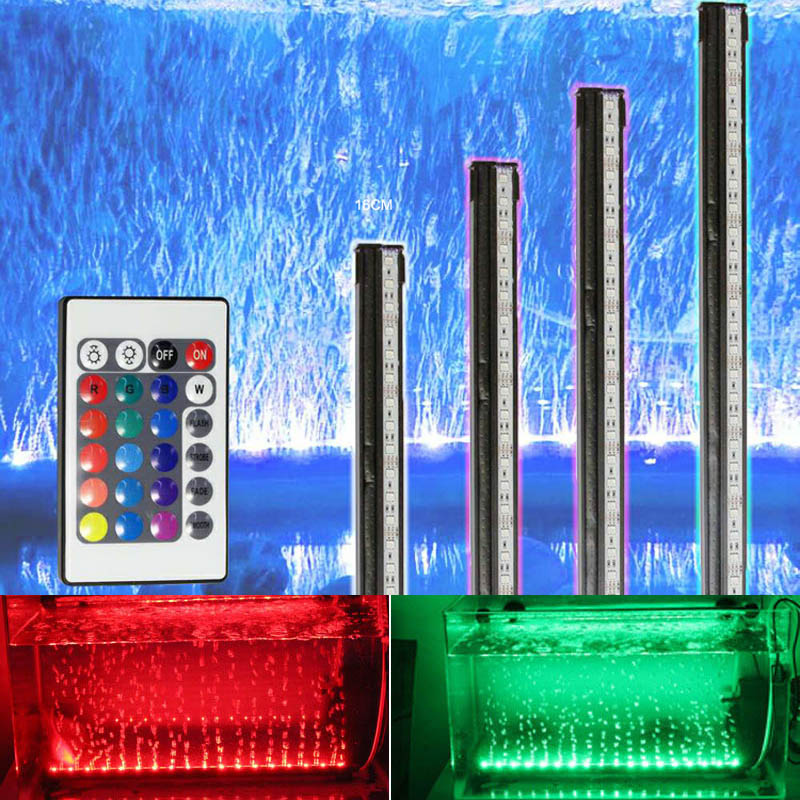 16/26/36/46/56CM LED Waterproof Lights Aquarium Lighting Decoration Fish Tank Light RGB Bar Air Bubble Lamp Submersible