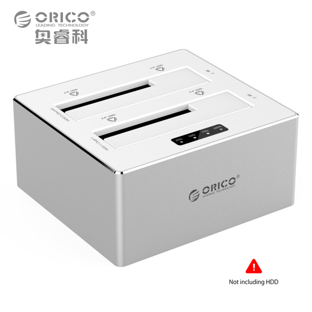 2.5 3.5 inch External Hard Drive Docking Station USB3.0 to SATA 3.0 Dual-Bay Storage Offline Clone Function Support 8TB Aluminum