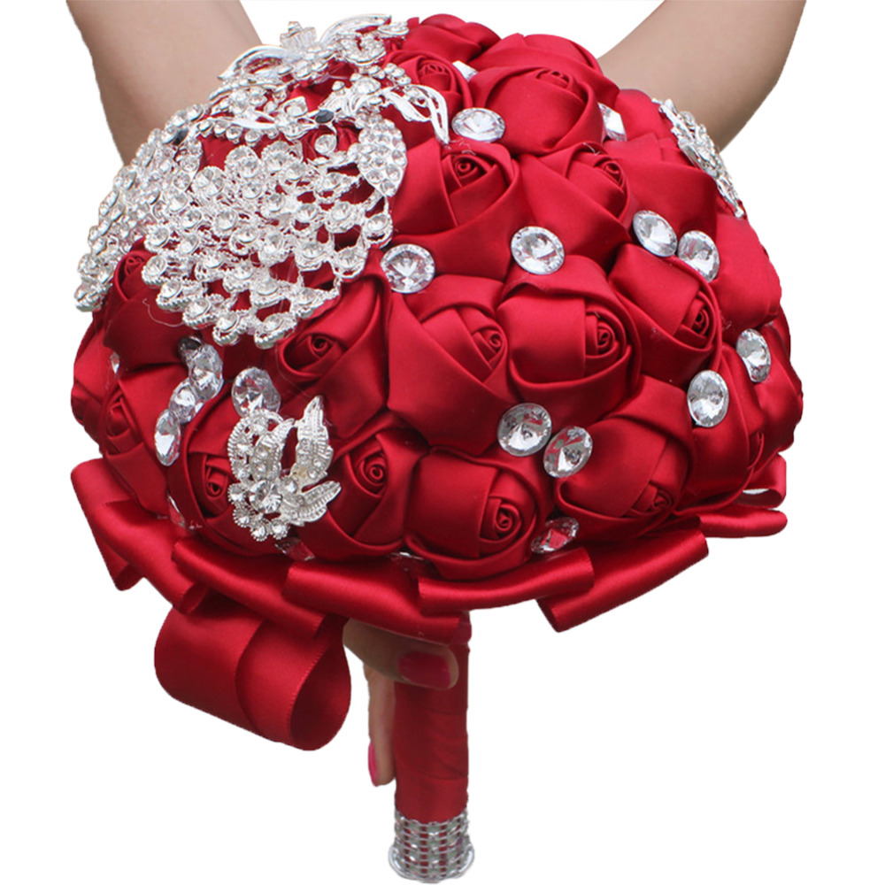 Wedding Flowers Bouquets For Bridesmaid With Crystals Soft Ribbons, Artificial Rose Flowers For Party and Church SPH001