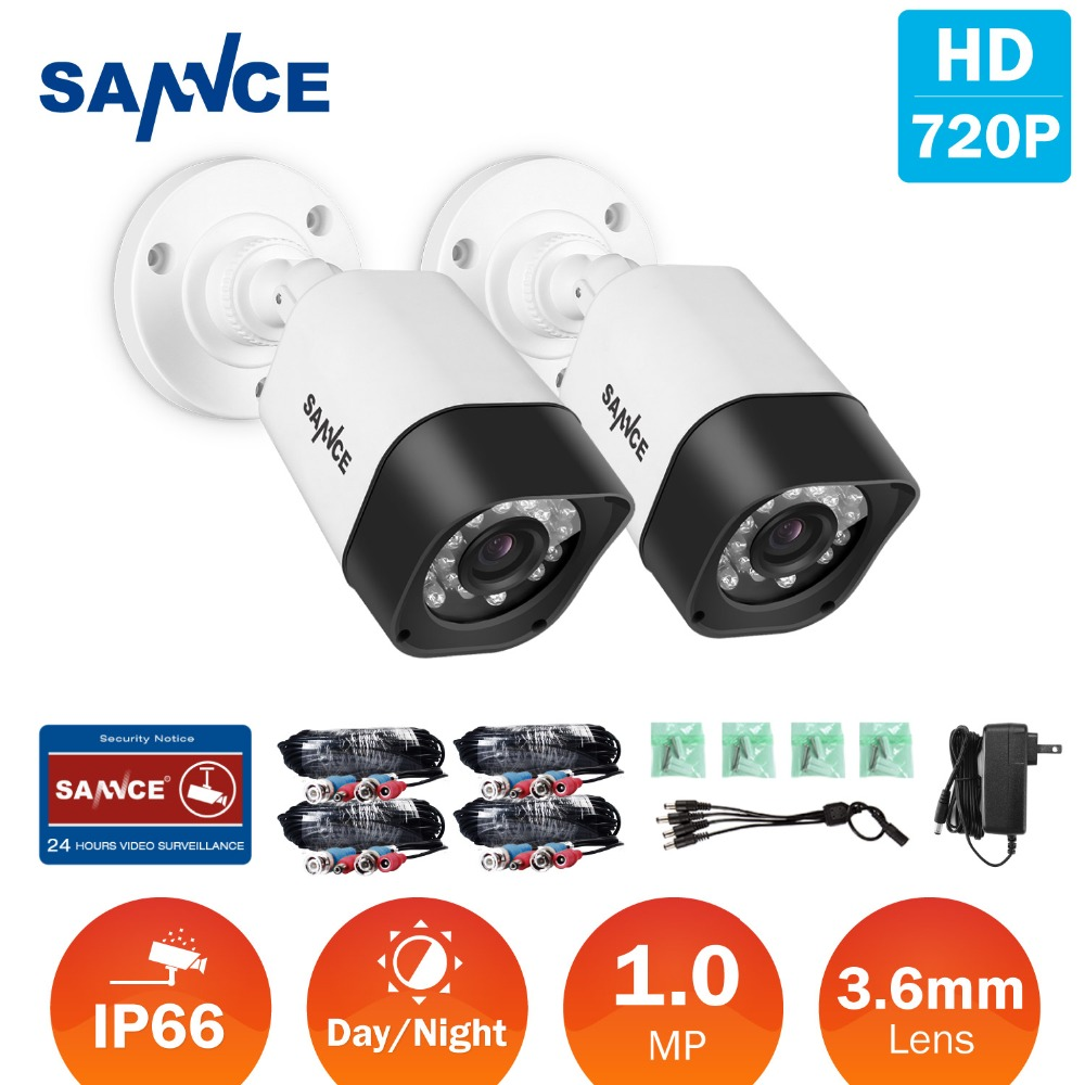 SANNCE 2pcs 720P HD TVI CCTV Security Cameras indoor outdoor Waterproof IR night vision & 2 BNC Cables in Surveillance DVR kit sannce hd 4ch cctv system hdmi ahd dvr kit 720p outdoor security waterproof night vision surveillance kits with 4 cameras 1tb