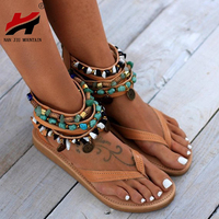 NAN JIU MOUNTAIN 2019 Summer Women's Shoes Sandals New Ethnic Style Handmade Beads Flat With Women's Sandals Plus Size 34 44