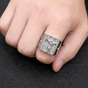 Image 4 - Hip hop US 6 to15 size Vintage Gold color Holy Cross Signet Ring Prayer Christian Jesus White Cub Zirconia Wedding Finger Ring