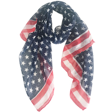 Scarfs Concise-Design Fashionable Women's Small Polyester with Usa-Flag Red Stripe Star