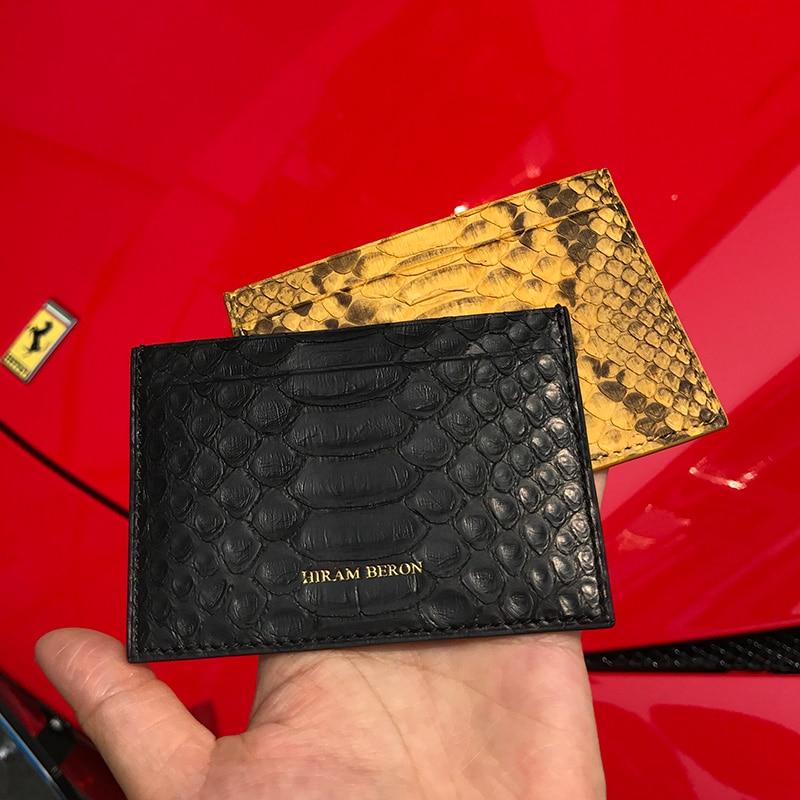 b56309e97ff7 Hiram Beron Unisex Leather Card Holder RFID Blocking Python Credit Card  Wallet Men Custom female wallet dropship