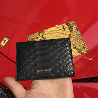 Unisex Leather Card Holder RFID Blocking Thin Python Lamb Skin Credit Card Wallet Men Women Short