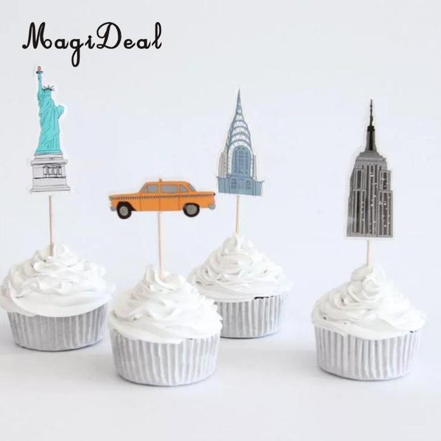24pcs new york empire state yellow taxi statue liberty cupcake 24pcs new york empire state yellow taxi statue liberty cupcake topper cake decoration wedding birthday baby junglespirit Choice Image