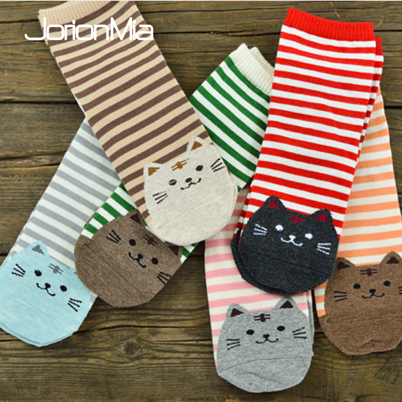 ╩Free ShipCotton Socks Footprints Animals-Style Warm Striped Female 5pairs Women Fashion Cat 3Dñ