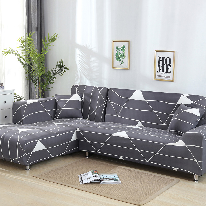 2 Pcs Couch Covers for Corner L Shaped Sofa with Elastic and Straps for Living Room 5