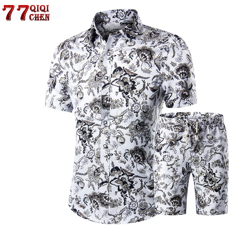 2020 Summer Fashion Floral Print Shirts Men+Shorts Set Men Short Sleeve Shirts Casual Men Clothing Sets Tracksuit Plus Size 5XL