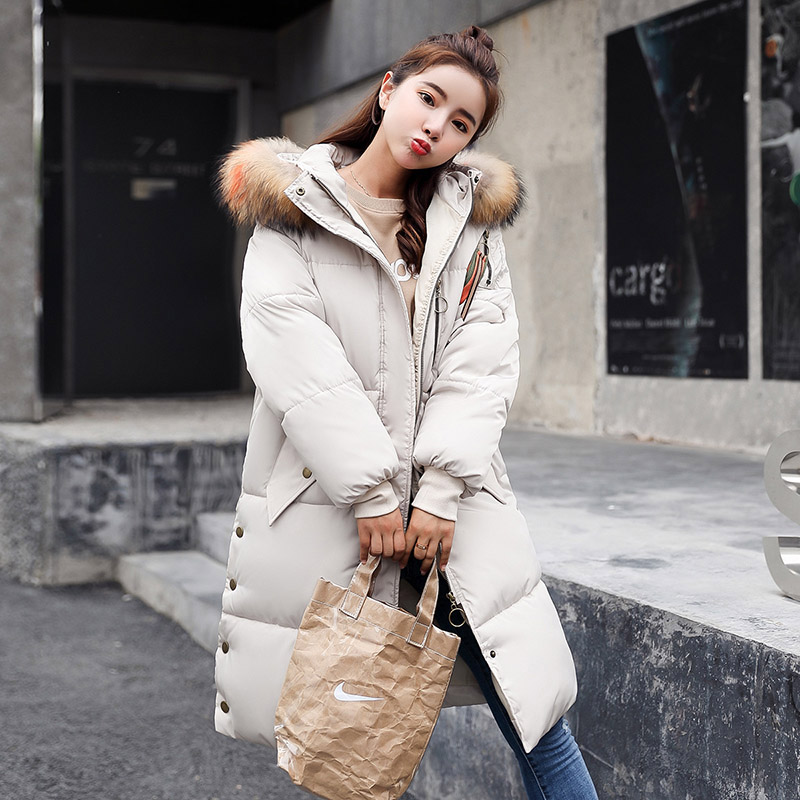 New Winter Women Long Down Coat Fashion Female Duck Parkas Jacket Thick Warm Elegant Down Coat Slim Fur Collar Wadded Jacket