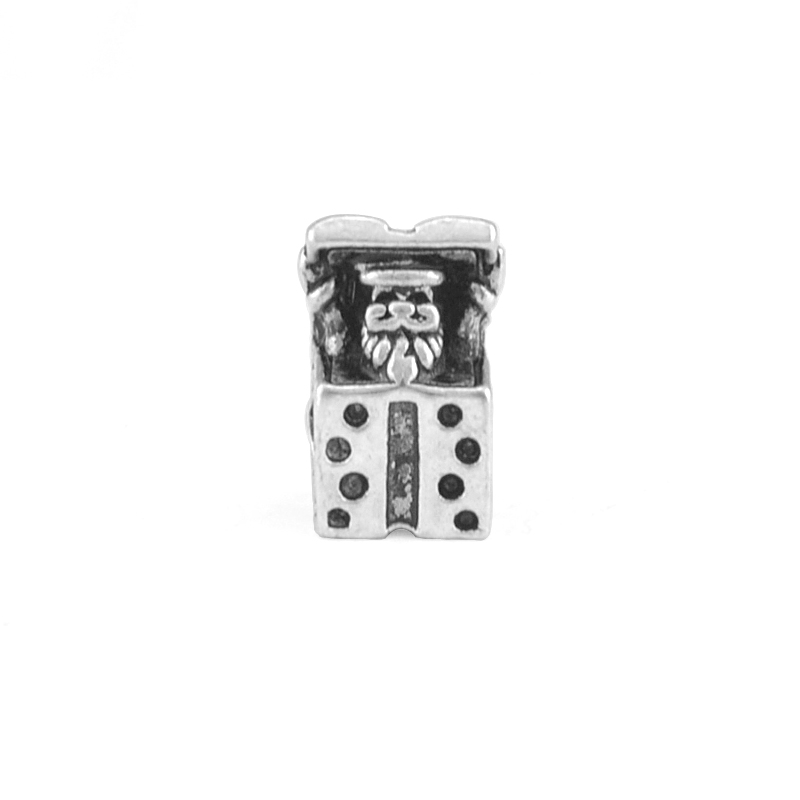 2Pieces/Lot Silver Plated Santa Claus Gift Box Charms Bead Fit pandora Charm Bracelets DIY Jewelry Making,SPB128