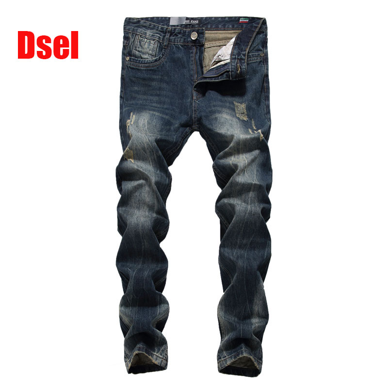 ФОТО 2016 New Dsel Brand Top Quality Hot Sale Fashion Men Jeans Straight Dark Blue Color Printed Jeans Men Ripped Jeans.625-2
