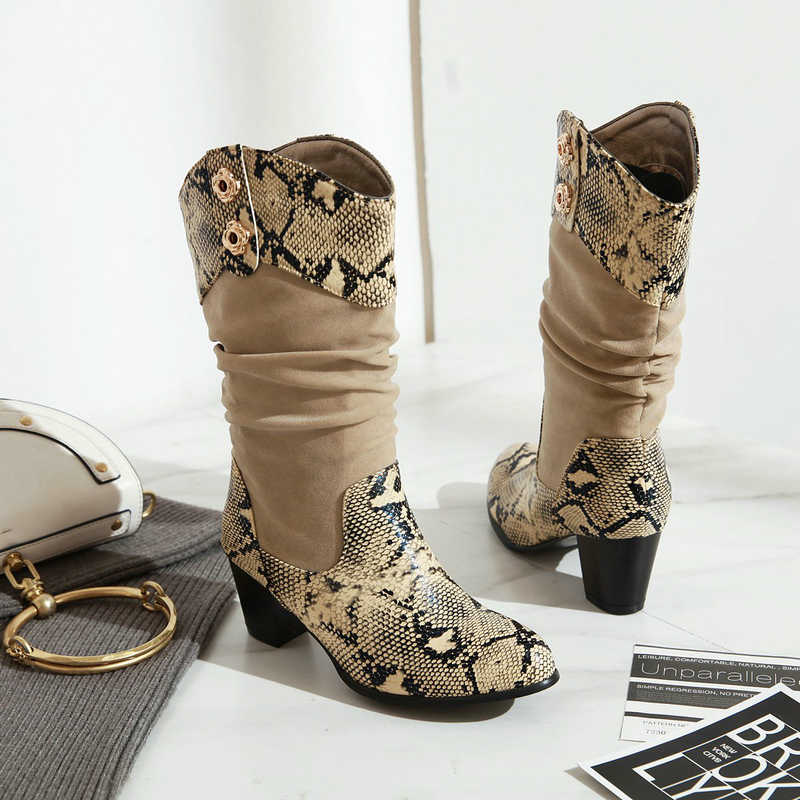 Sonbahar Kış Kadın Orta Buzağı Boots Batı Yılan Baskı Kovboy Çizmeler Kadınlar için Tıknaz Cowgirl Çizmeler Yüksek Topuk Büyük Boyutu 2019 Yeni