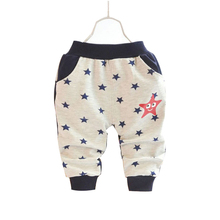 2015 Spring&Autumn 1 piece Cotton children pants boy girl Five-pointed star pattern 0-3 year baby harem pants training pants