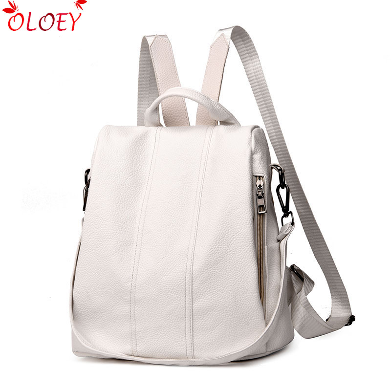 2019 Fashion Quality Luxury Women's Backpack Youth Leather Backpack Retro Girl Bag White Backpack Large Capacity Travel Backpack