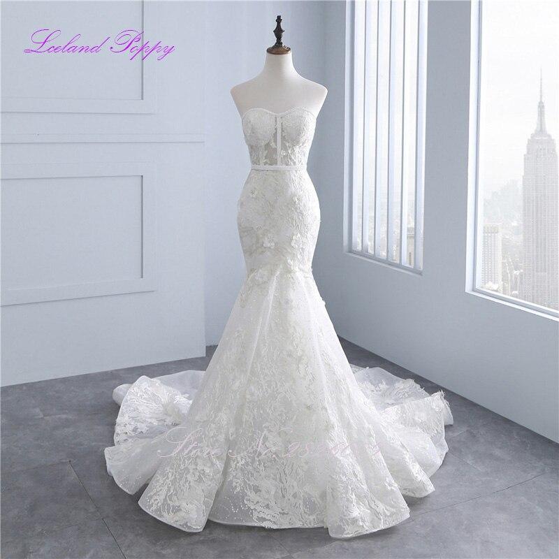 Lceland Poppy Mermaid Lace Appliques Wedding Dresses Strapless Pearls Beaded Sequined Vestido De Novia Bridal Gowns Floor Length