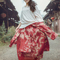 Vintage women's spring and autumn 100% tie-dyeing cotton handmade double layer bust women's half-length skirt full