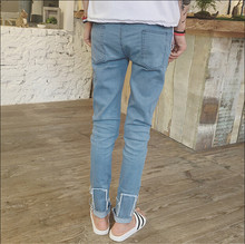 2016 new men washed jeans feet pencil pants European and American ultra-thin pants tide male Plus Size M-XXL