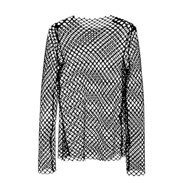 8aef0c6cff833c Ladies Women s Long Sleeve Sheer Mesh SEE THROUGH Plain Top T-Shirt