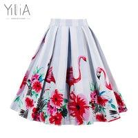 Yilia חצאית נשים ארוכות מקסי Midi מותניים גבוהים הדפסת פלמינגו 50 s חצאיות בציר 20 סתיו קיץ צבע 2017 אלגנטי סקסי בוהמי