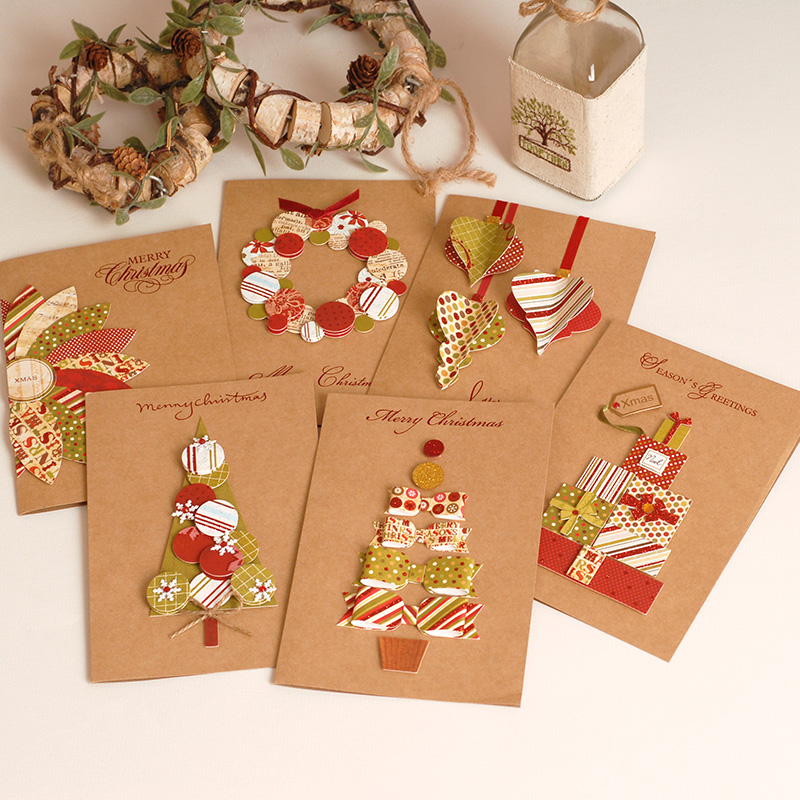 2017 vintage paper 3d chirstmas greeting cards handmade kraft christmas cards business gift in cards invitations from home garden on aliexpresscom - Christmas Photo Cards 2017