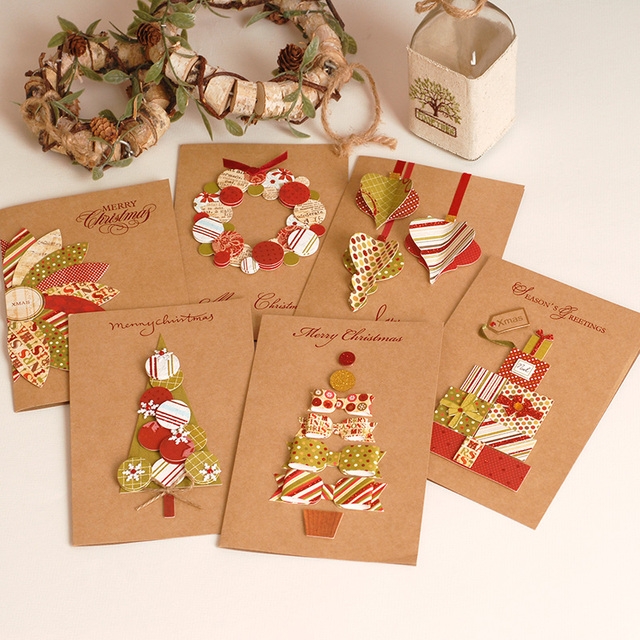 2017 vintage paper 3d chirstmas greeting cards handmade kraft christmas cards business gift
