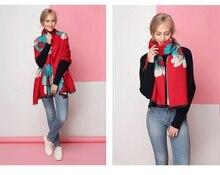 Marque de luxe écharpe en cachemire femmes haute qualité hiver Fleur chaud  pashmina de mode noir rouge gland Poncho 2018 femelle. 3d2ad046265