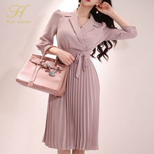 Notched Neck Pleated Dress