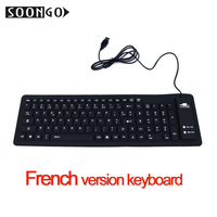 Silicone Soft Clavier Keyboard Folding Flexible Mini Wired Slim Gamer Universal Portable Roll Up Black PC