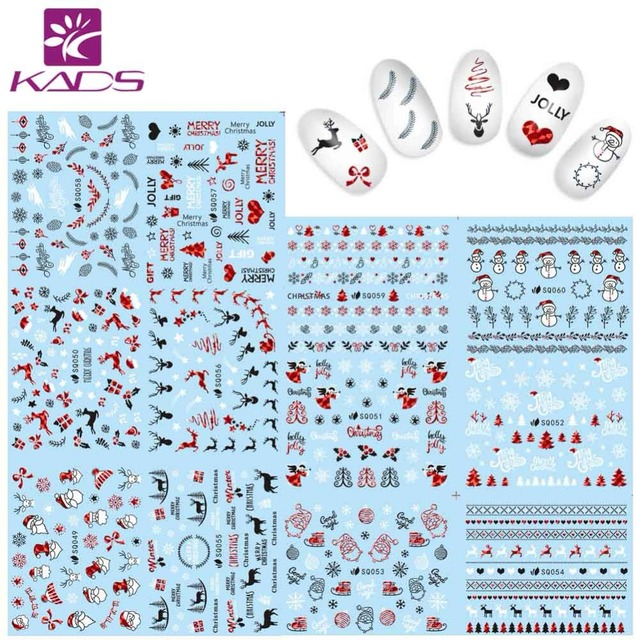 KADS Nail Sticker 3D Laser Red Christmas Series Nail Decal Nail Art Stickers Beauty Decoration stickers for nails manicure tips
