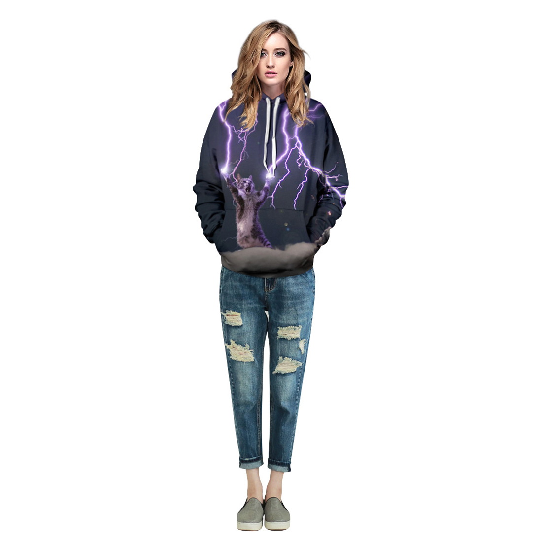 Men/Women New Fashion 3d Sweatshirt Digital Printing Lightning Cat Long Sleeve Casual Hoodies Cap Thin Hoody
