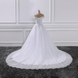 Image 3 - Vestido de novia De 2019, vestidos de Boda De Princesa, Vestido de novia De encaje con aplique para hombro, Vestido de novia De novia
