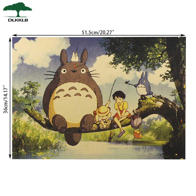 Dlkklb الرجعية Totoro كرافت ورقة الملصقات انمي ياباني Totoro الجدار ملصق غرفة الاطفال الديكور خمر المشارك