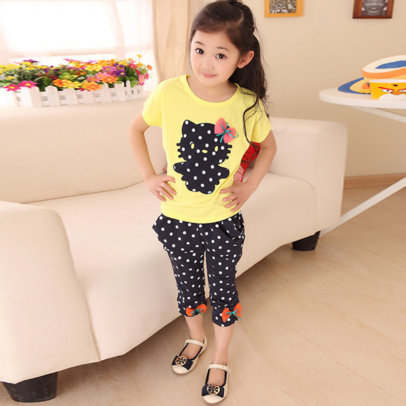 2017 Girls Summer Casual Clothes Set Children Short Sleeve Cartoon T-shirt + Short Pants Sport Suits Girl Clothing Sets for Kids 2018 kids girls clothes set baby girl summer short sleeve print t shirt hole pant leggings 2pcs outfit children clothing set