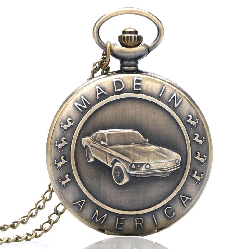 Bronze Mustang Pattern Car Quartz Pocket Watch with Key Chain Male Female Clock Reloj de Bolsillo