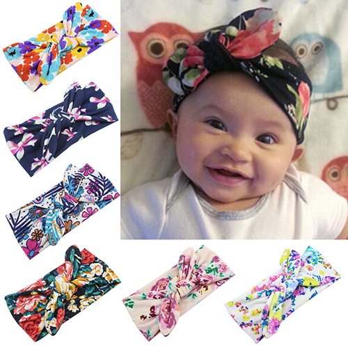 Hot Baby Girl Toddler Headband Bohemia Bowknot Flower Headdress Hairband Elastic 6RCS 7EIB