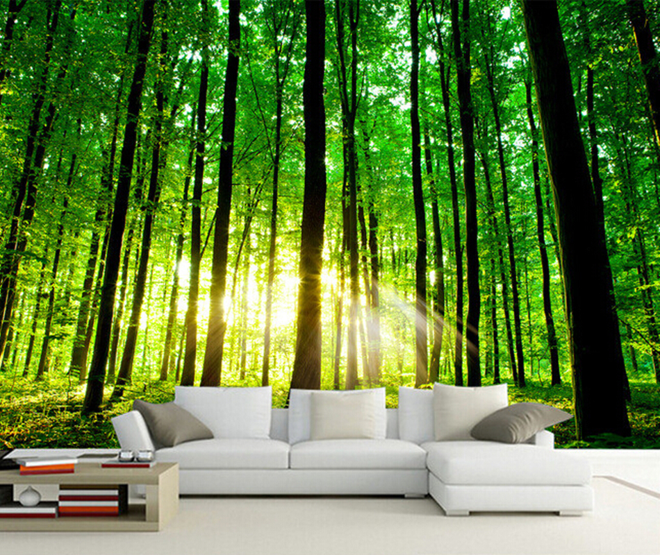 Custom 3d photo wallpaper sun forest mural for living for Mural 3d wallpaper