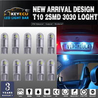 KEYECU 50*194 ice Blue LED Light T10 2SMD 3030 Chips Car Interior Light ReplacementW5W 168 175 19Map Dome Courtesy License Plate