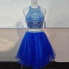 Mode schöne royal blue kurze Brautkleider 2016 high neck perlen A-linie homecoming abend-kleid-festzug-kleid für formale abend-partei