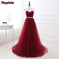 Yinyyinhs Sweetheart Burgundy Pleat Evening Dress A Line Backless Prom Dress Belt Tulle Sweep Train Formal