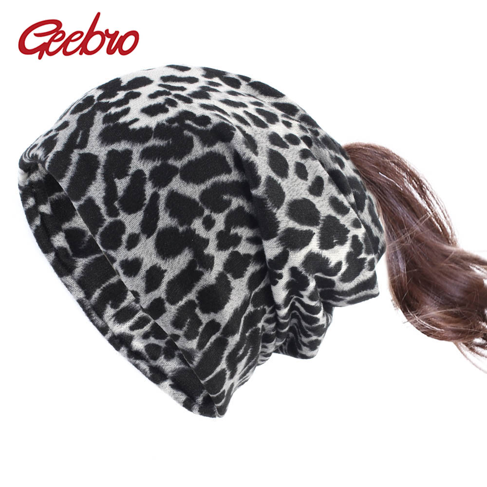 Geebro Women's Leopard Ponytail Beanie Hat Spring Hair Hole Slouchy Beanies For Femme Soft Warm Bonnet Cap Gorro Invierno Mujer
