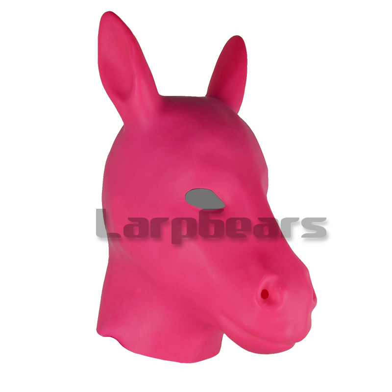 Adulte rose Latex masque fétiche Bondage capuche en caoutchouc cheval masques avec fermeture à glissière cheval Cosplay masque