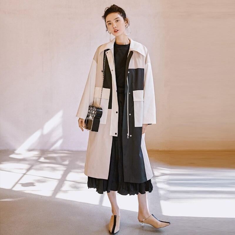 2019 Original Designer Frühling Graben mantel Frauen Plus größe Kleidung Weiß Patchwork Schwarz Casual Lange Lose Windjacke Oberbekleidung-in Trench aus Damenbekleidung bei  Gruppe 3
