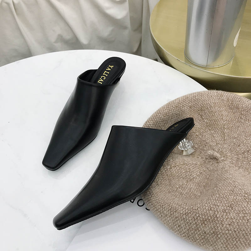 fc43c64959f55 Detail Feedback Questions about Clear heels Slippers Women Shoes luxury  rhinestone Slides Ladies leather closed toe Mules Slip on Sandalias mujer  Black ...