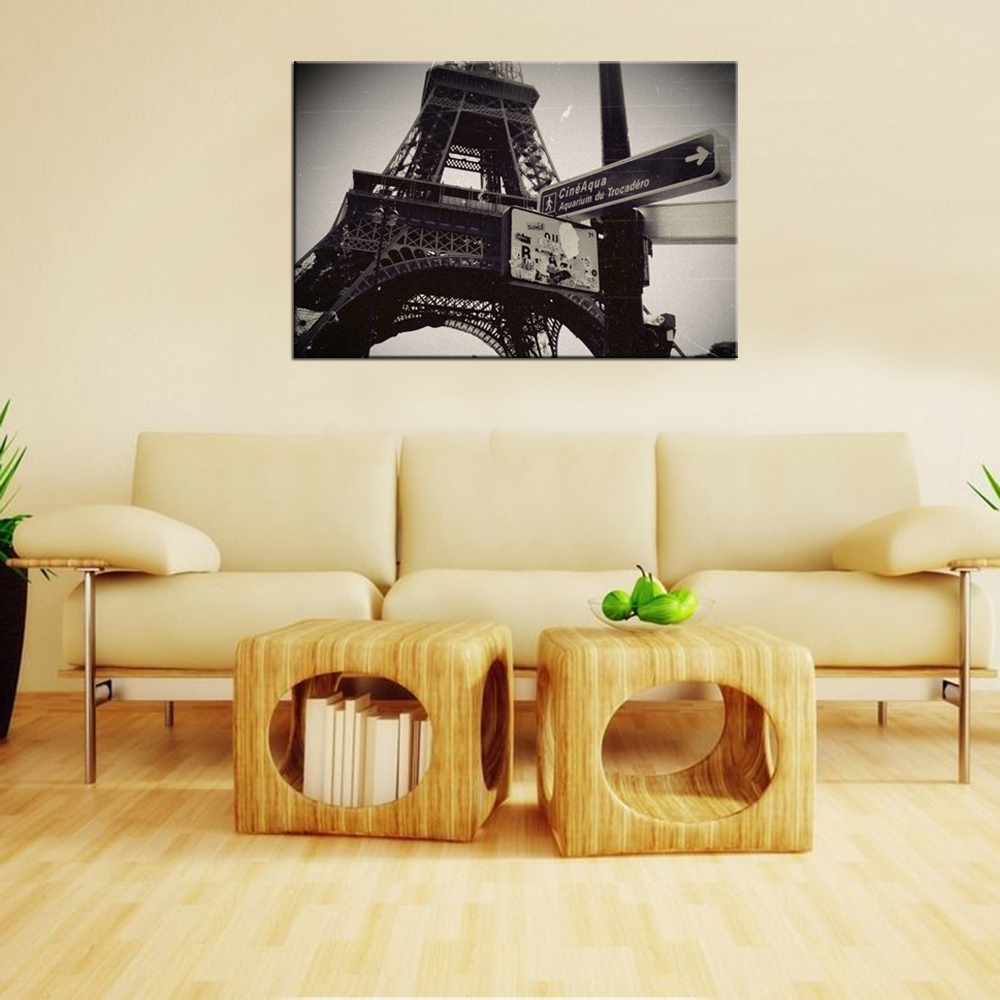 Eiffel Tower Paris Dark Vintage Tour Canvas Wall Decor Art Print ...