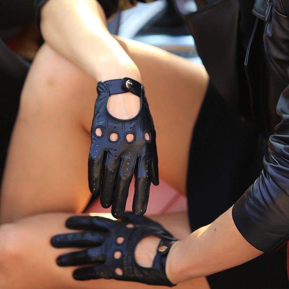 Venta caliente nuevos guantes de cuero para mujer Nappa piel de oveja muñeca sólida transpirable Real moda auténtica guante de conducción envío gratis EL041N - 5
