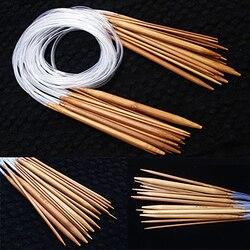 18 tamanhos/conjunto 40/60/80/100/120cm bambu circular crochê tricô agulha conjunto carbonizado tubo