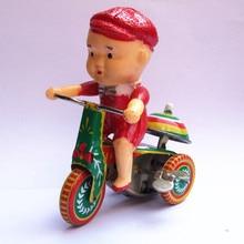 [Best] коллекция для взрослых Ретро игрушка с ветром металлическая Оловянная детская езда на велосипеде, играющая с звонком, трехколесный механический часовой механизм, игрушечная фигурка