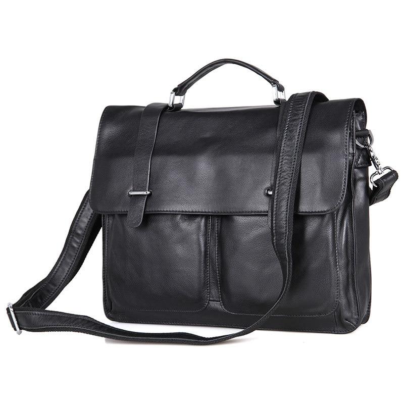 Nesitu Promotion Black Genuine Leather Men Briefcase 14'' Laptop Portfolio Men's Messenger Bags Male Shoulder Bag M7100